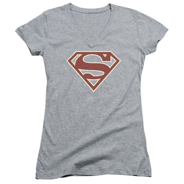 Superman/Crimson & Cream Shield Junior V-Neck in Heather 21171722