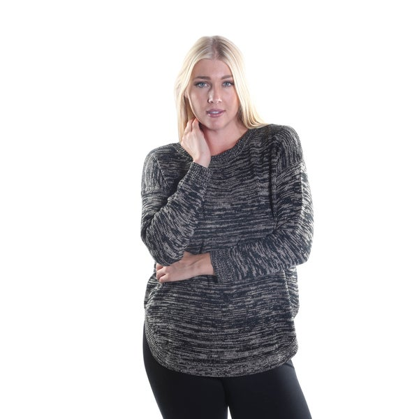 Hadari Women's Plus Size Round Neckline Long Sleeve Knitted Pullover Sweater With Back Button Down