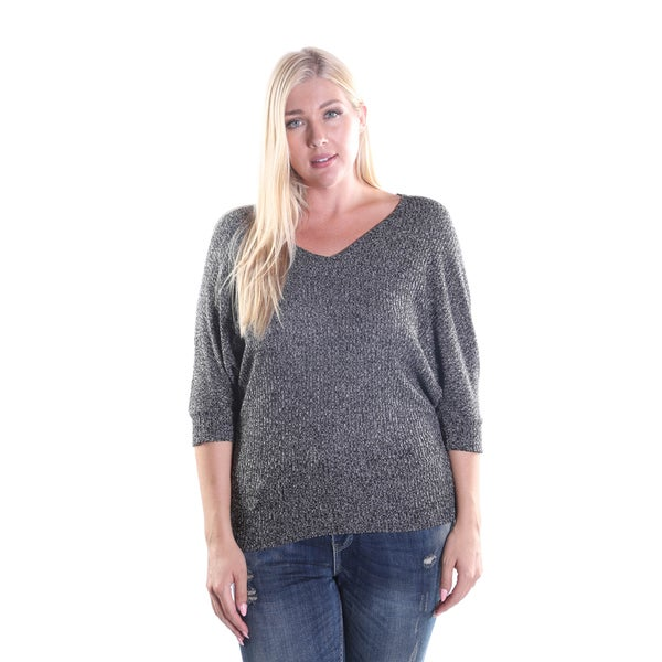 Hadari Women's Plus Size V-Neck Pullover Sweater with 3/4 Sleeve