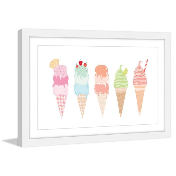 Marmont Hill - 'Ice Cream Cones' by Diana Alcala Framed Painting Print 21178511