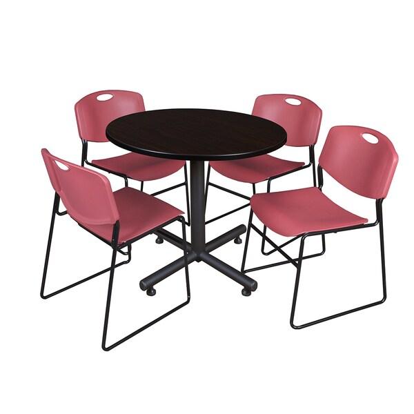 Regency Seating Kobe Melamine Laminate 36-inch Round Breakroom Table and 4 Burgundy Zeng Stack Chairs 21180455