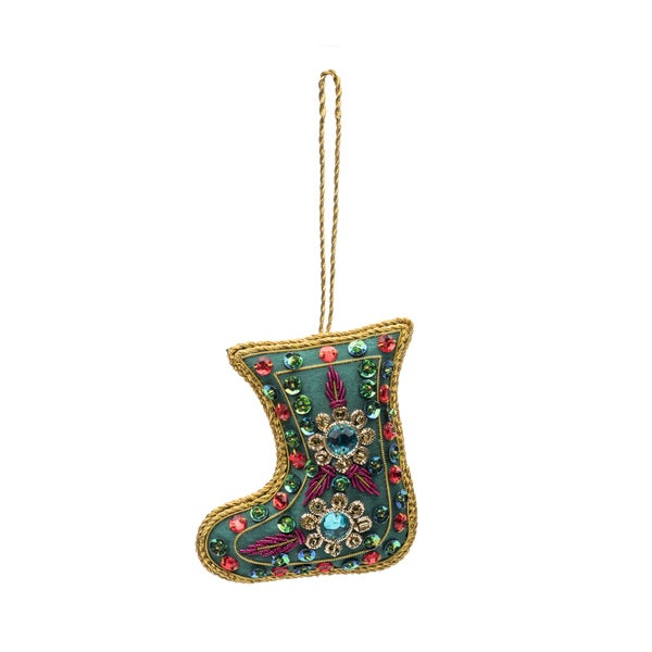 Embellished Stocking Ornament - Green