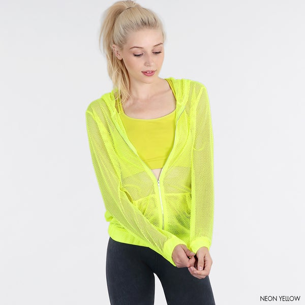 NikiBiki Women's Neon Yellow Nylon and Spandex Fishnet Hoody Jacket