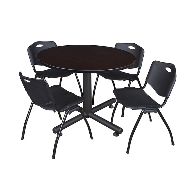 Kobe Black Laminate Top Wood/Metal Frame 48-inch Round Breakroom Table and 4 'M' Stack Chairs
