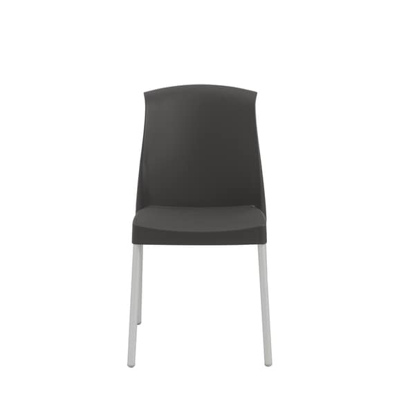 Euro Style Jenny Stacking Side Chair in Anthracite with Aluminum Legs (Set of 6)