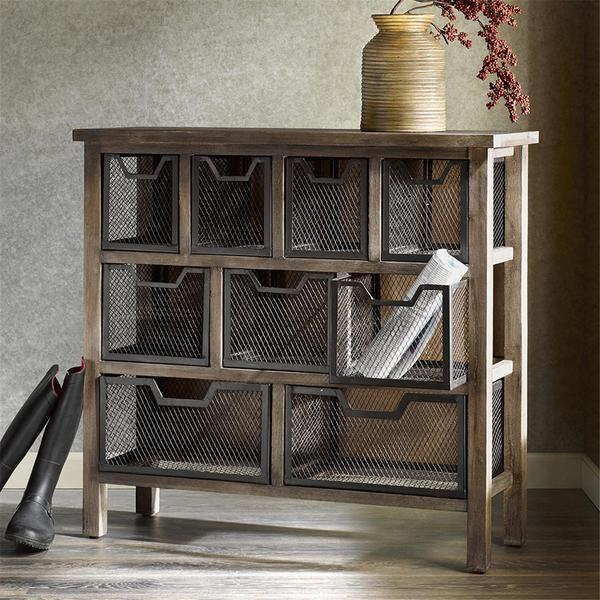 Madison Park Jack Grey Metal Bin Console Table