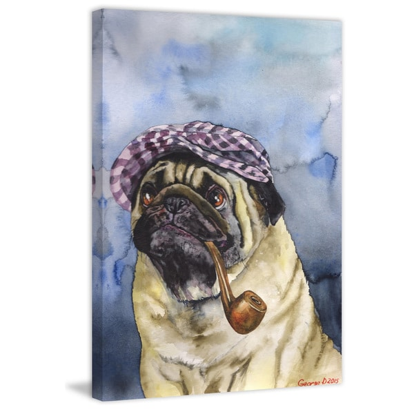 Marmont Hill - 'Sherlock the Pug' by George Dyachenko Painting Print on Wrapped Canvas