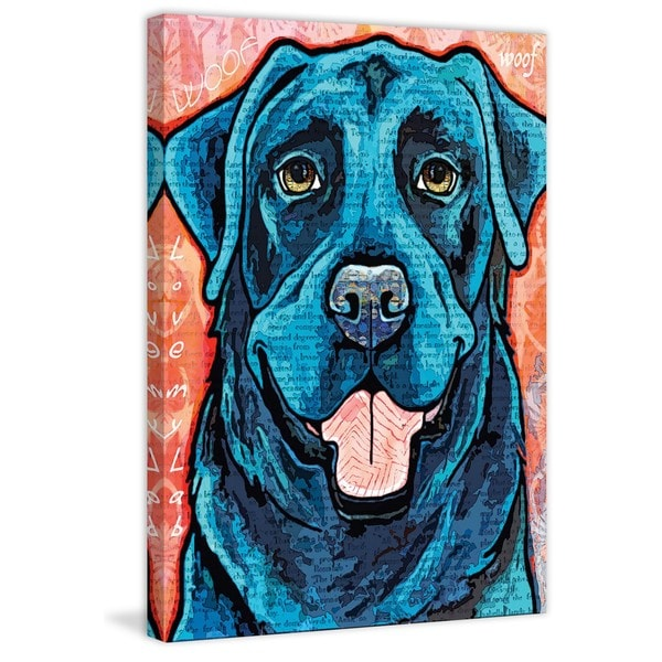 Marmont Hill - 'Pop Art Black Lab' Painting Print on Wrapped Canvas