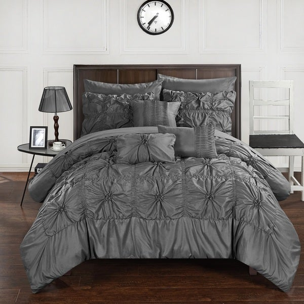 Chic Home 10-Piece Grantfield Bed-In-A-Bag Charcoal Comforter Set