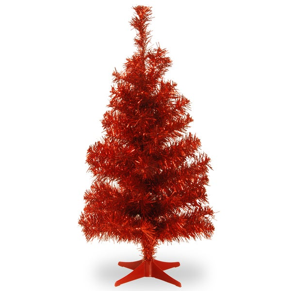 Red Tinsel 2-foot Christmas Tree