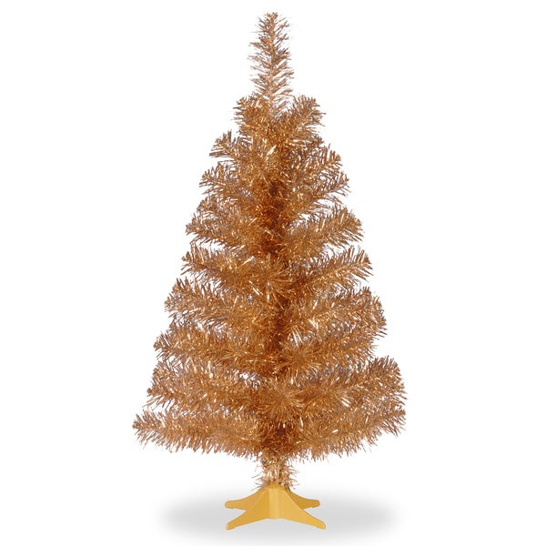 Champagne-colored Tinsel 2-foot Christmas Tree