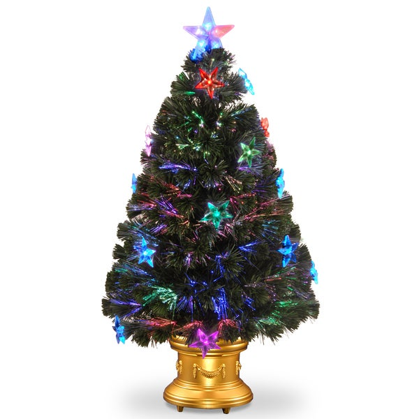 36-inch Fiber Optic Fireworks Tree with Star Decorations