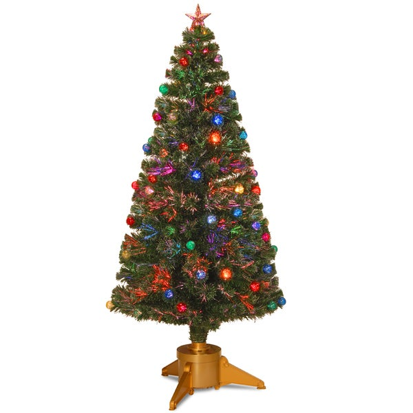 Green 72-inch Fiber Optic Fireworks Tree with Ball Ornaments