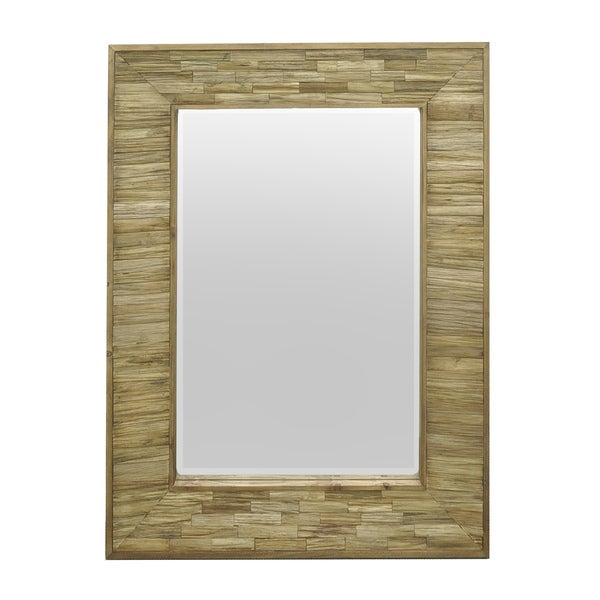 Three Hands 42779 Natural Brown Wood Rectangular Slatted Wall Mirror