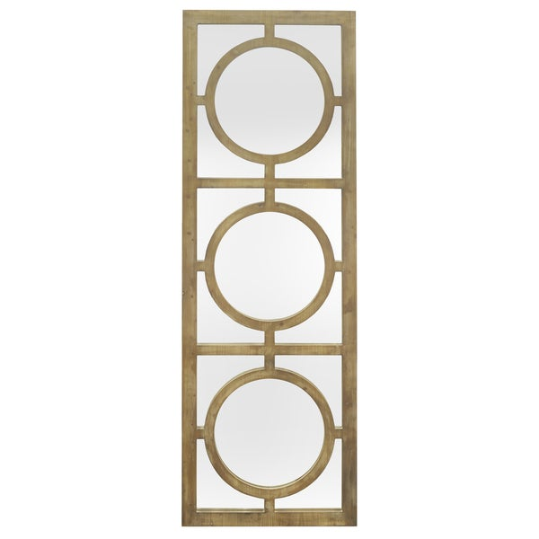 Three Hands 40882 Wood Wall Mirror with Circle Overlay Detail