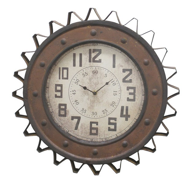 Three Hands 43838SP Gear-design Brown Metal Wall Clock 21198695