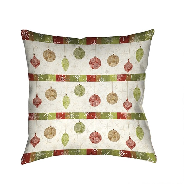 Laural Home Home for the Holidays Red and Green Polyester 18-inch Decorative Pillow