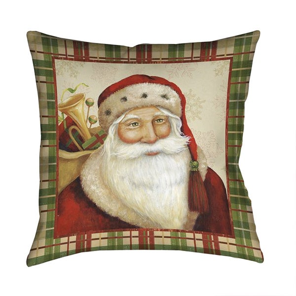 Laural Home Jolly St. Nick Red/Green 18-inch Square Decorative Pillow