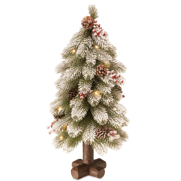 'Feel-Real' 24-inch Snowy Bayberry Spruce Tree