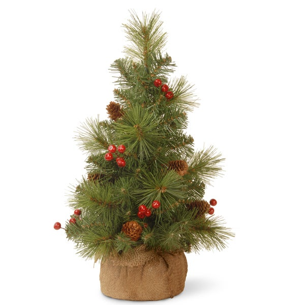 Everyday Collection Cone and Berry 18-inch Miniature Artificial Pine Tree