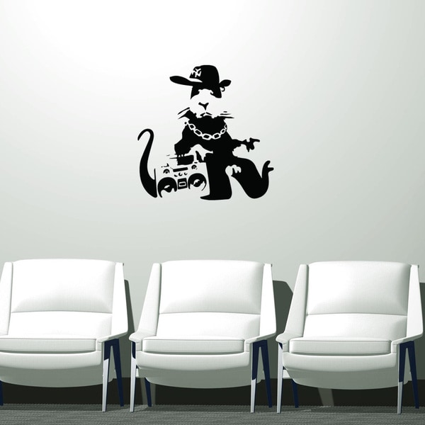 Banksy 'Gangsta Rat' Black Vinyl Wall Decal