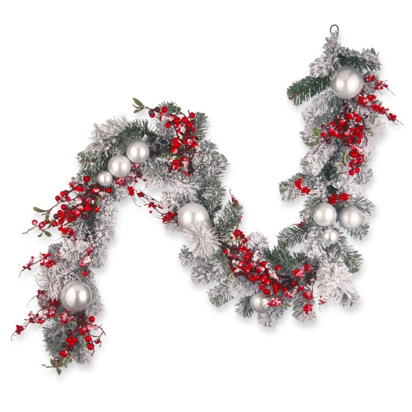 Red and White 6-foot Christmas Garland