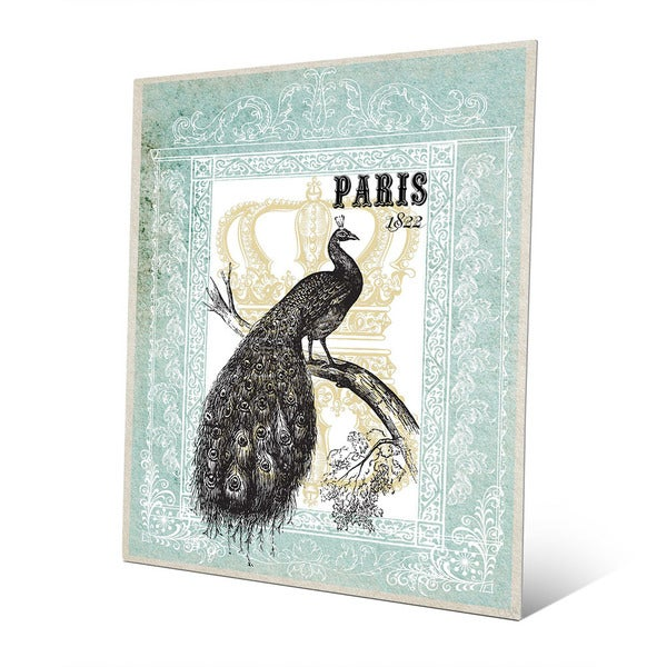 Peacock in Mint Paris Metal Wall Art