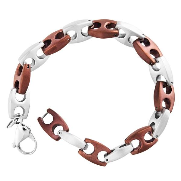 Men's Stainless Steel Chocolate-plated Mariner Link Bracelet