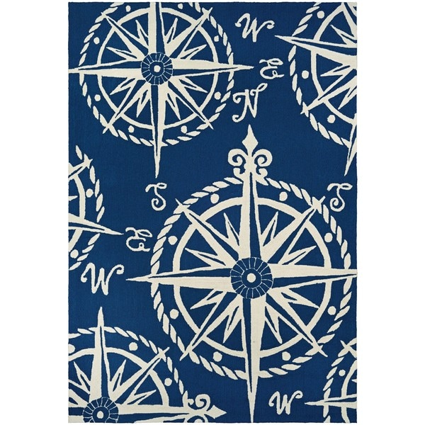 Hand-hooked Couristan Outdoor Escape Mariner/Navy/Ivory Polypropylene Rug (5'6 x 8')