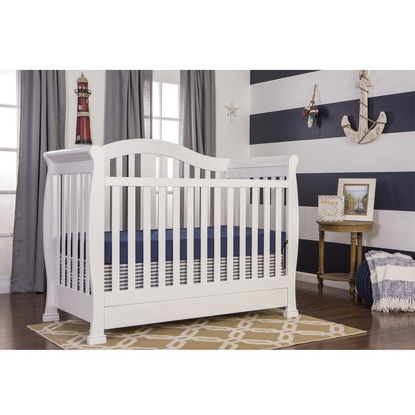 Dream On Me Addison White Wood 5-in-1 Convertible Crib with Storage