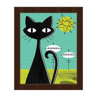 'Retro Space Colony Cat' Framed Canvas Wall Art
