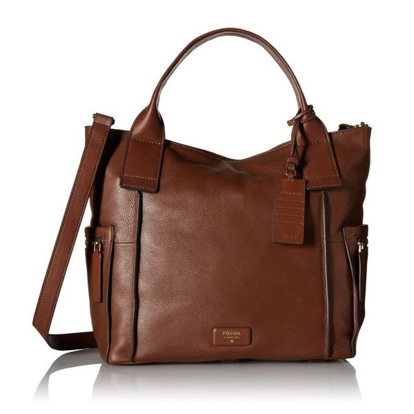 Fossil Emerson Top-Handle Brown Satchel Handbag