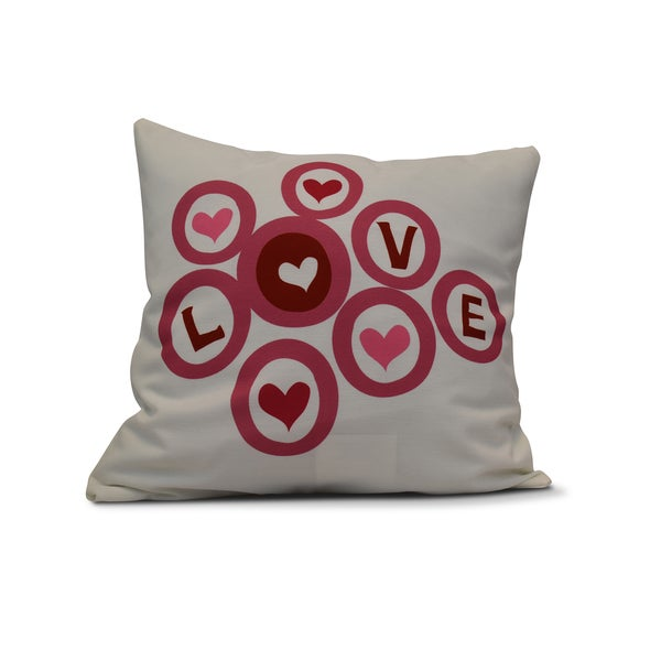 18 x 18-inch, Love in the Round, Holiday Geometric Print Pillow