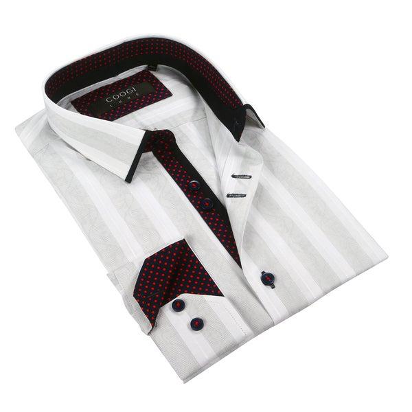 Coogi Mens White/Light Army Green w/Polka Dot Trim Dress Shirt
