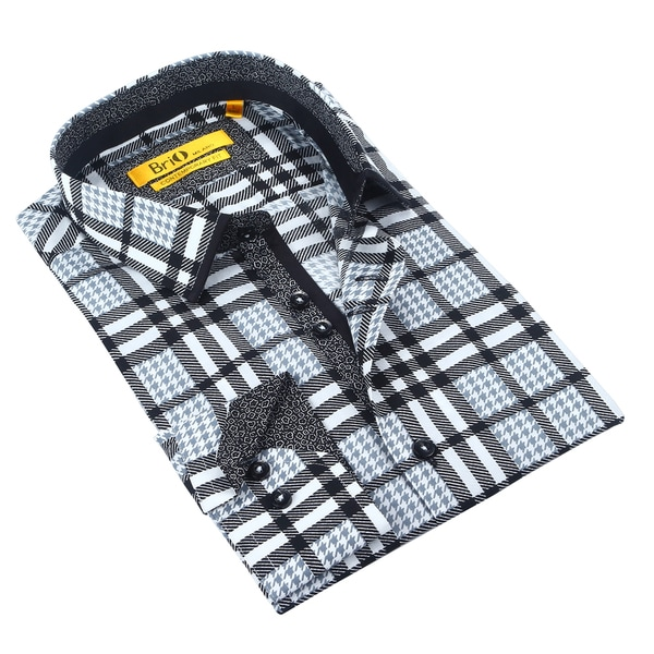 Brio Mens Plaid White/Black Dress Shirt