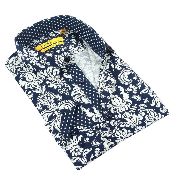 Brio Mens Navy/White Floral Dress Shirt