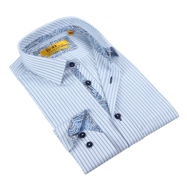 Brio Mens White & Navy Dress Shirt