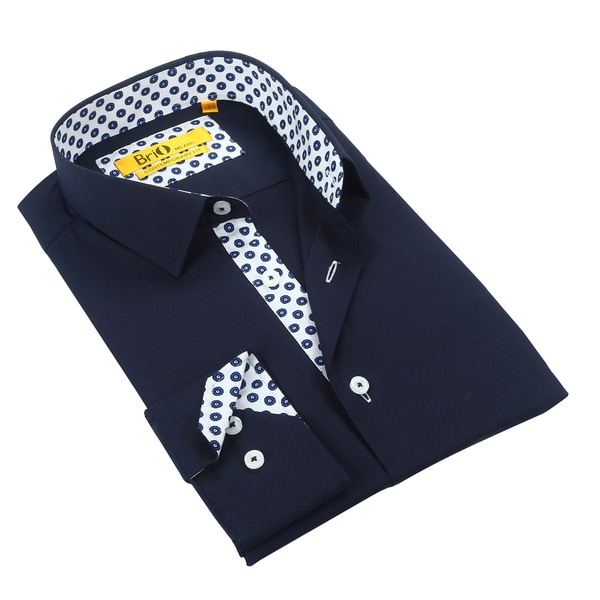 Brio Mens Soild Navy w/Polka Dot Trim Dress Shirt