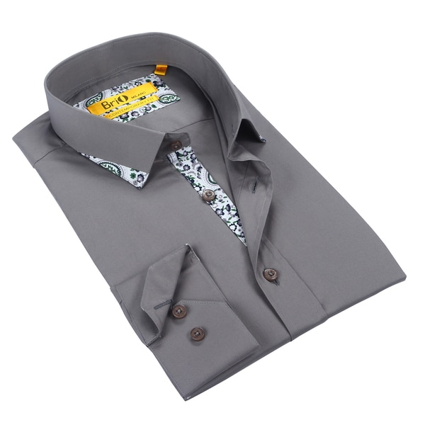 Brio Mens Grey Dress Shirt with Floral Trim