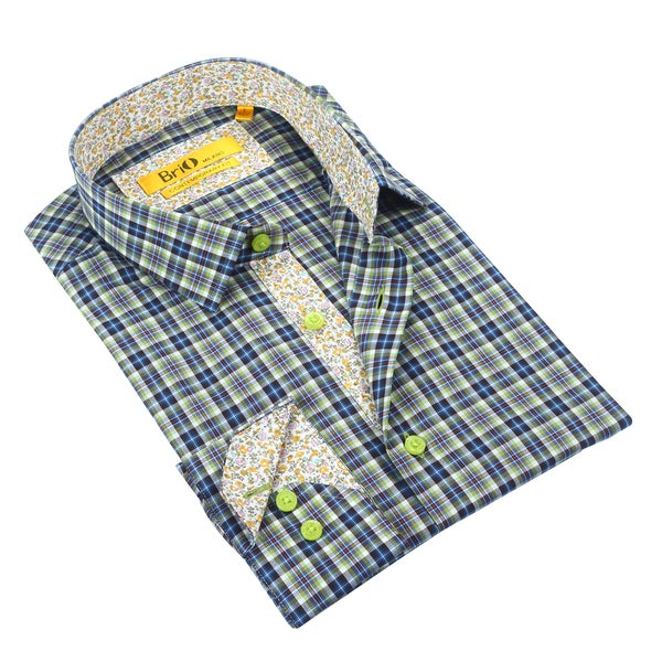 Brio Men's Plaid Green/Navy with Floral Trim Dress Shirt
