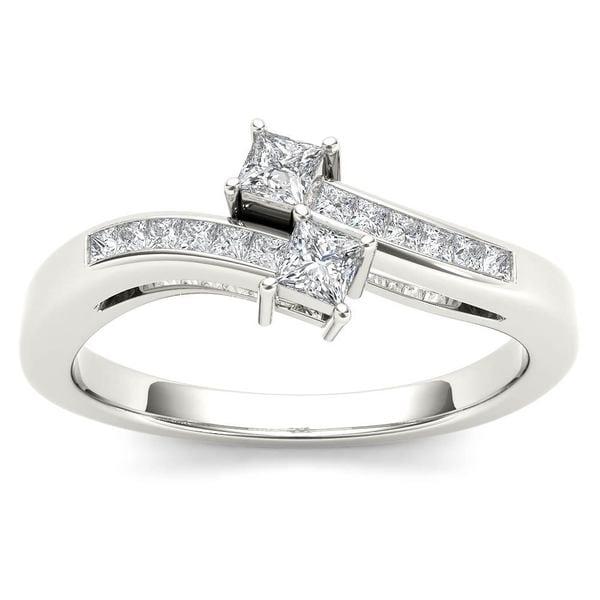 De Couer 14k White Gold 1/3ct TDW Two-Stone Diamond Engagement Ring - White H-I 21210433