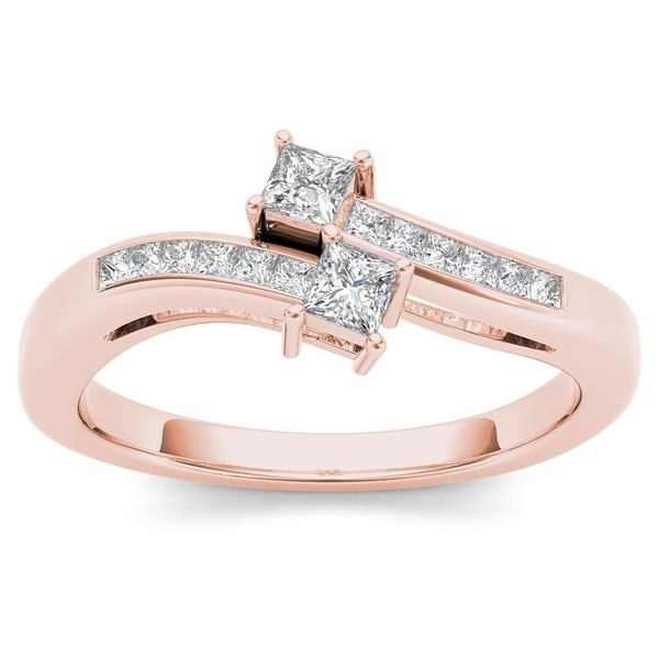 De Couer 14k Rose Gold 1/3ct TDW Two-Stone Diamond Engagement Ring - Pink 21210439