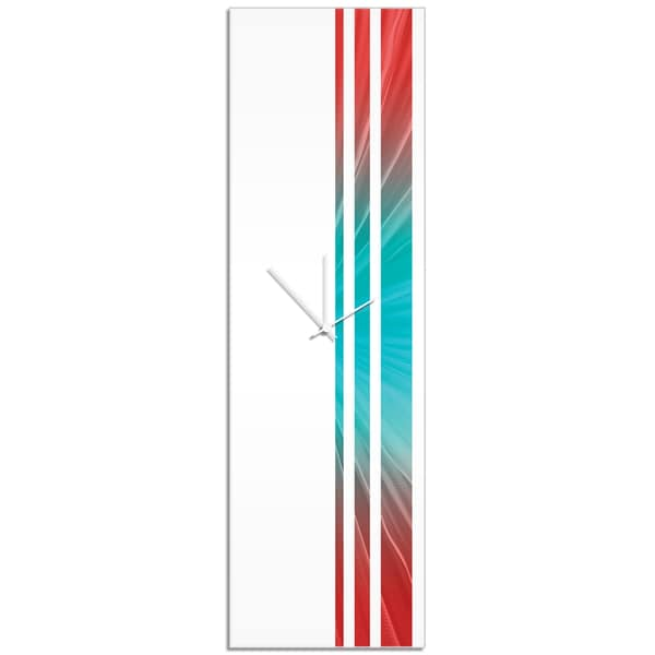Adam Schwoeppe 'Reef Triple Stripe Clock' Large Modern Clock on Acrylic