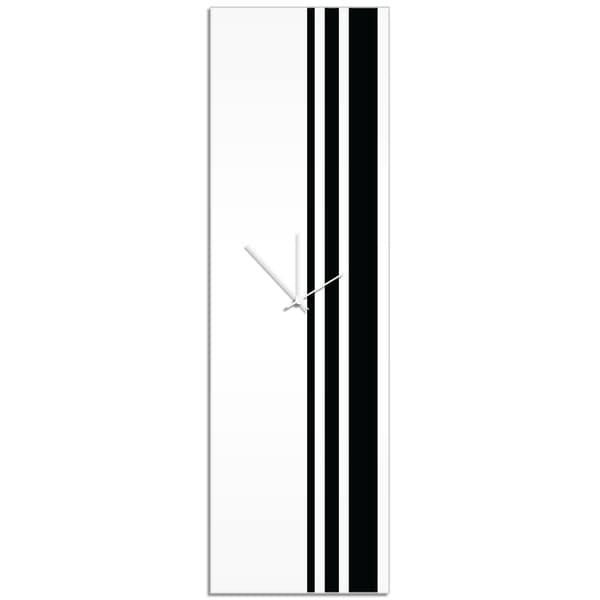 Adam Schwoeppe 'Black Triple Stripe Clock' Large Modern Clock on Acrylic 21211522
