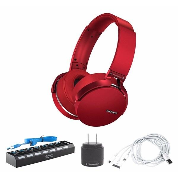 Sony Extra Bass Bluetooth Headphones (Red) with 7-Port USB 3.0 Hub & Accessory Bundle