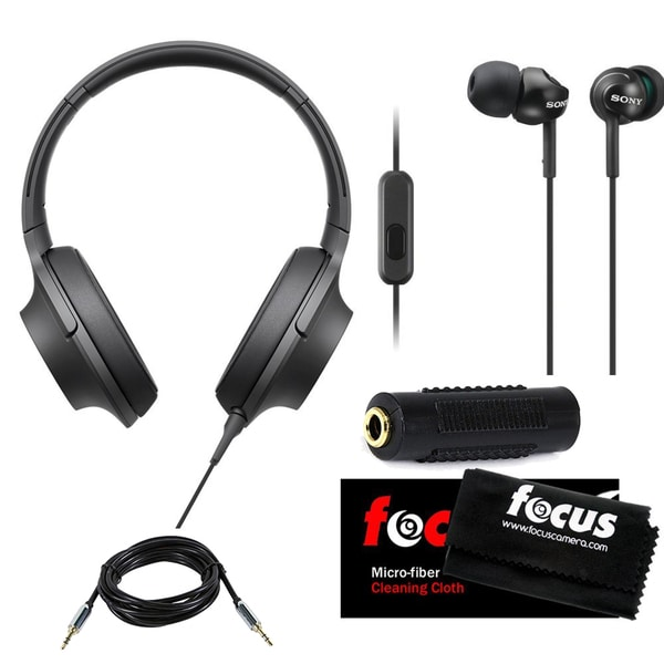 Sony h.ear MDR-100AAP Headphones w/ Deep Bass Earphones & Micro Fiber Cleaning Cloth (Black)
