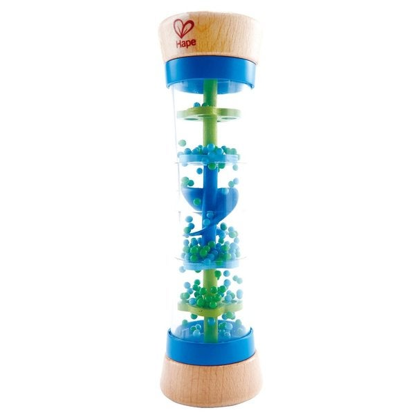 Hape Toys Blue Wood Beaded Raindrops Rainmaker