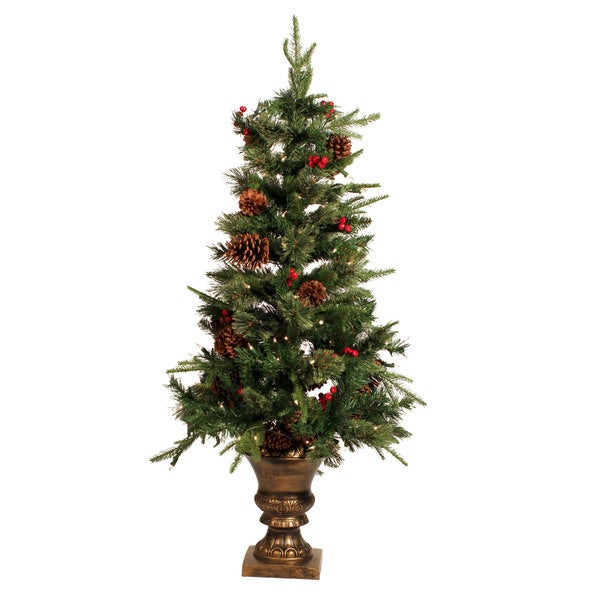 Plastic/Metal Mixed Cashmere Berry/Cone Porch Tree