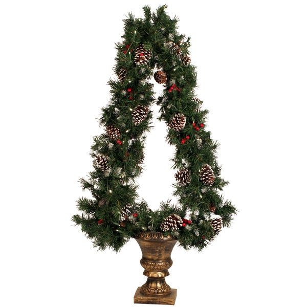 Plastic/Metal Pre-lit Triangle Tree with White Tips and Berries in a Gold Urn