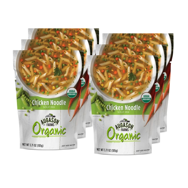 Augason Farms Organic Chicken Noodle Soup Mix 3.71 oz. 6-pouch Pack